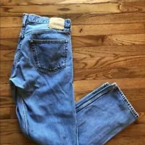 Levi Strauss 501 Button Fly Blue Denim Jeans Mens